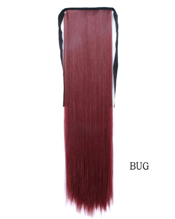 "24"" Burgundy Long Straight Clip In Ponytail Binding Tie Up Ponytail Hair Extensions One Piece Wrap Around Pony Tail"