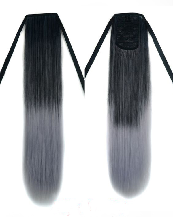 New Fashion Black Grey Ombre Straight Ponytail Binding Tie Up Ponytail Hair Extensions #1B/Grey One Piece Wrap Around Pony Tail With Clips