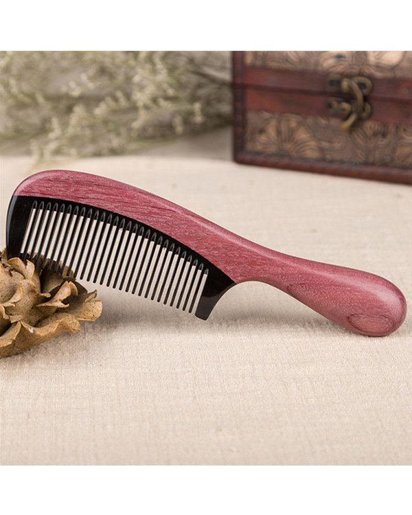 FESHFEN Natural Handmade Wooden Comb Green Sandalwood Hair Comb No Static Detangling Buffalo Horn & Wood Comb - Wine Red