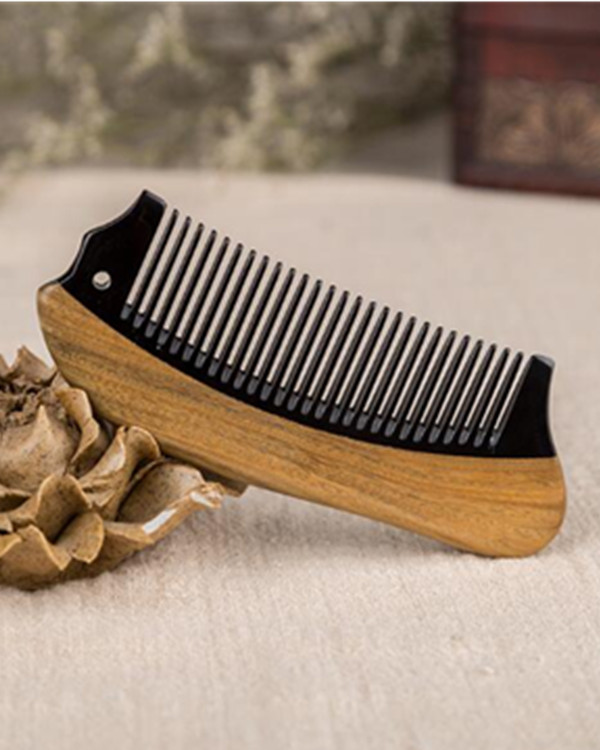 FESHFEN Natural Handmade Wooden Comb Green Sandalwood Hair Comb Antistatic Detangling Buffalo Horn & Wood Comb - Burlywood