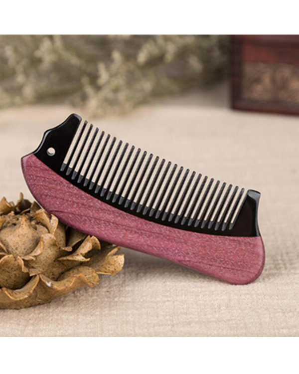 FESHFEN Natural Handmade Wooden Comb Green Sandalwood Hair Comb Antistatic Detangling Buffalo Horn & Wood Comb - Wine Red