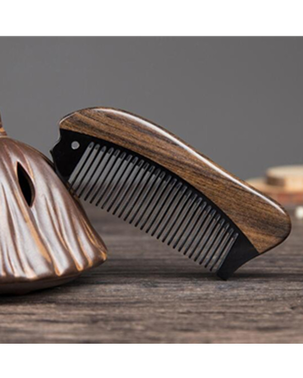 FESHFEN Natural Handmade Wooden Comb Green Sandalwood Hair Comb Antistatic Detangling Buffalo Horn & Wood Comb - Mocha