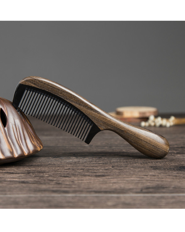 FESHFEN Natural Handmade Wooden Comb Green Sandalwood Hair Comb No Static Detangling Buffalo Horn & Wood Comb - Mocha