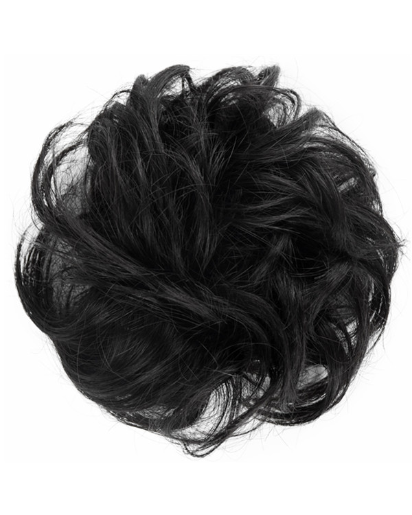 FESHFEN 100% Human Hair Scrunchies #1 Jet Black Curly Messy Hair Bun Extensions Wedding Hair Pieces for Women Kids Hair Updo Donut Chignons