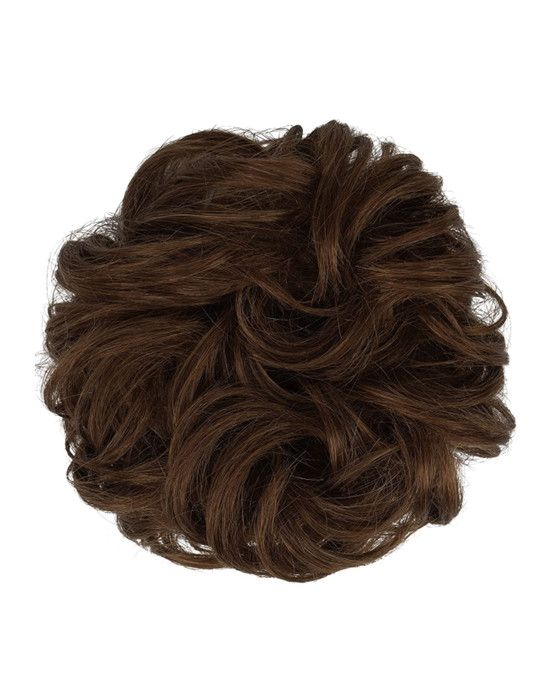FESHFEN 100% Human Hair Scrunchies #27 Strawberry Blonde Curly Messy Hair Bun Extensions Wedding Hair Pieces for Women Kids Hair Updo Donut Chignons