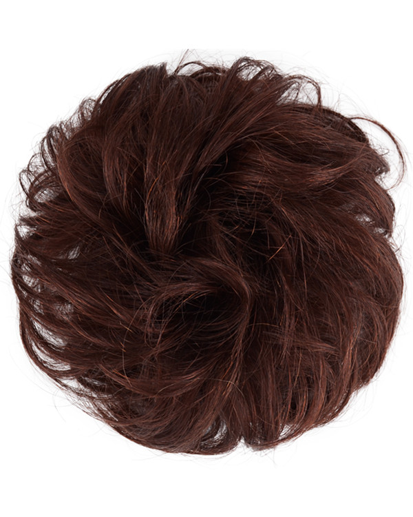 FESHFEN 100% Human Hair Scrunchies #2 Darkest Brown Curly ...