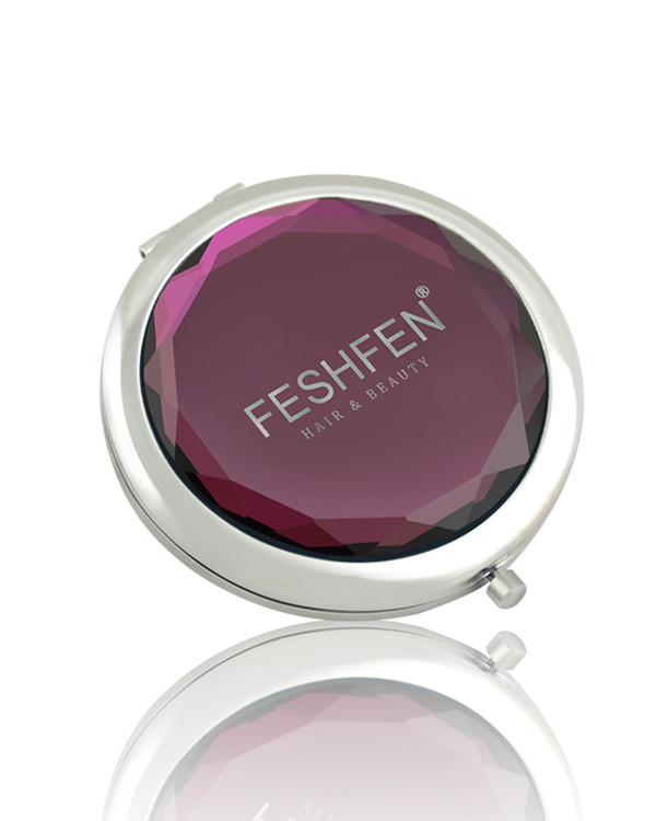 FESHFEN Crystal Cosmetic Mirror Double-Sided Pocket Mirror Portable Make-up Mirror For Beauty, Cosmetic, Camping and Travel - Burgundy