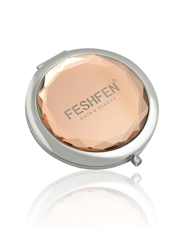 FESHFEN Crystal Cosmetic Mirror Double-Sided Pocket Mirror Portable Make-up Mirror For Beauty, Cosmetic, Camping and Travel - Rose Gold