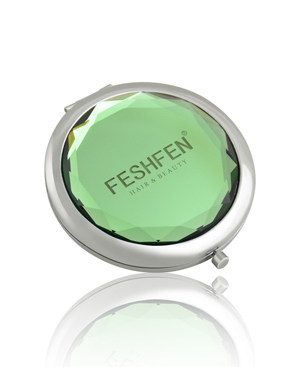 FESHFEN Crystal Cosmetic Mirror Double-Sided Pocket Mirror Portable Make-up Mirror For Beauty, Cosmetic, Camping and Travel - Green