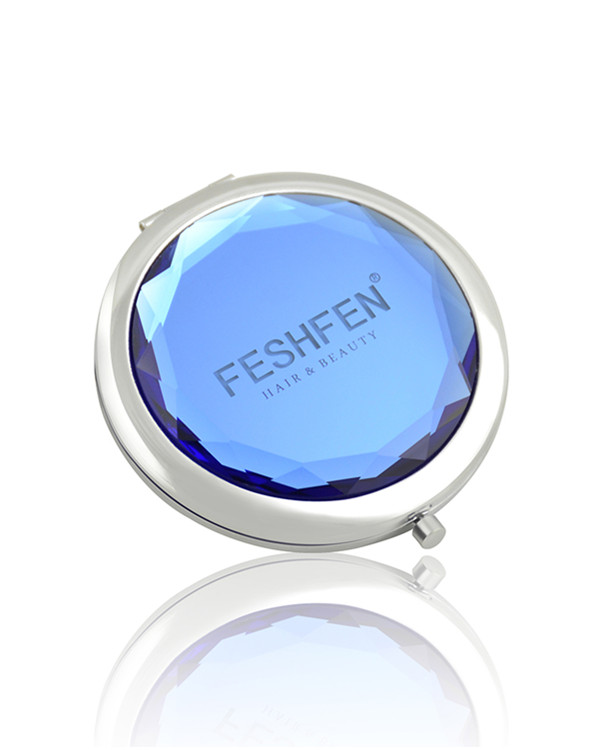 FESHFEN Crystal Cosmetic Mirror Double-Sided Pocket Mirror Portable Make-up Mirror For Beauty, Cosmetic, Camping and Travel - Ocean Blue