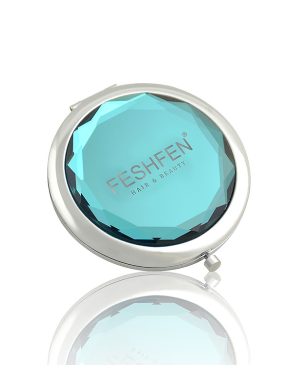 FESHFEN Crystal Cosmetic Mirror Double-Sided Pocket Mirror Portable Make-up Mirror For Beauty, Cosmetic, Camping and Travel - Teal Blue