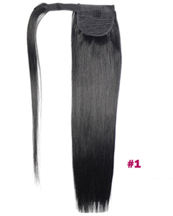 "FESHFEN 16"" Human Hair Ponytail #1 Jet Black Straight Ponytail Binding Tie Up Clip In Hair Extensions One Piece Wrap Around Pony Tail"