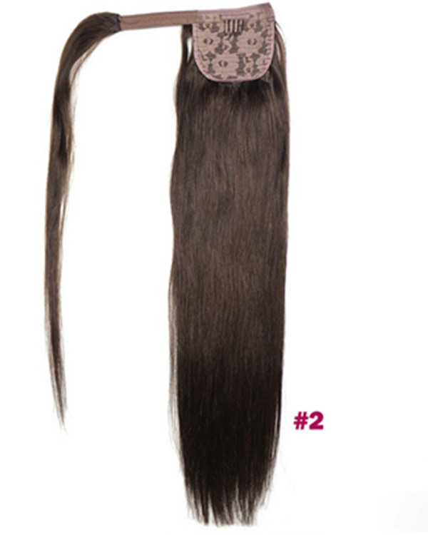 "FESHFEN 16"" Human Hair Ponytail #2 Dark Brown Straight Ponytail Binding Tie Up Clip In Hair Extensions One Piece Wrap Around Pony Tail"