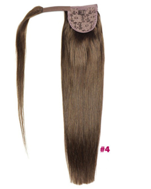 "FESHFEN 16"" Human Hair Ponytail #4 Medium Brown Straight Ponytail Binding Tie Up Clip In Hair Extensions One Piece Wrap Around Pony Tail"