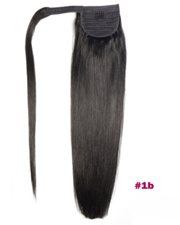"FESHFEN 16"" Human Hair Ponytail #1B Black Straight Ponytail Binding Tie Up Clip In Hair Extensions One Piece Wrap Around Pony Tail"