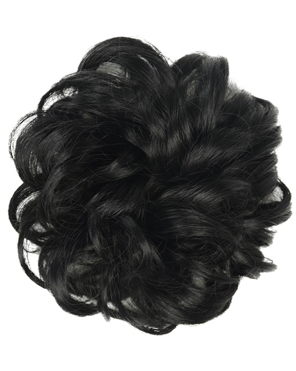 FESHFEN Wavy Messy Hair Bun Donut Hair Chignons Hairpiece Scrunchy Scrunchie - #1B