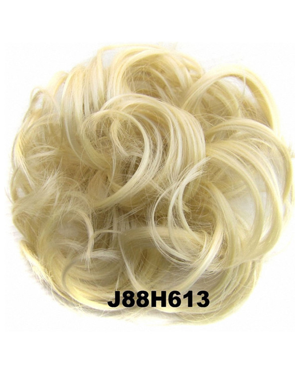 FESHFEN Wavy Messy Hair Bun Donut Hair Chignons Hairpiece Scrunchy Scrunchie - J88H613 Pale Yellow & Bleach Blonde