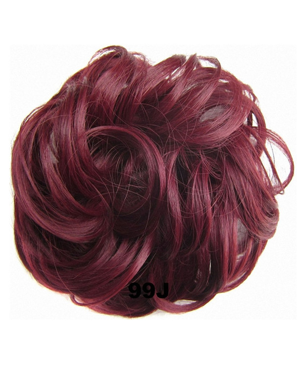 FESHFEN Wavy Messy Hair Bun Donut Hair Chignons Hairpiece Scrunchy Scrunchie - Wine Red