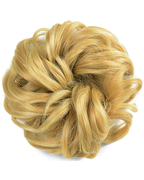 FESHFEN Wavy Messy Hair Bun Donut Hair Chignons Hairpiece Scrunchy Scrunchie - #27/613