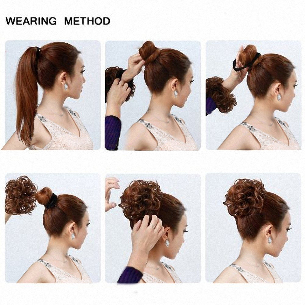 FESHFEN Wavy Messy Hair Bun Donut Hair Chignons Hairpiece Scrunchy Scrunchie - #60 Ash Platinum Blonde