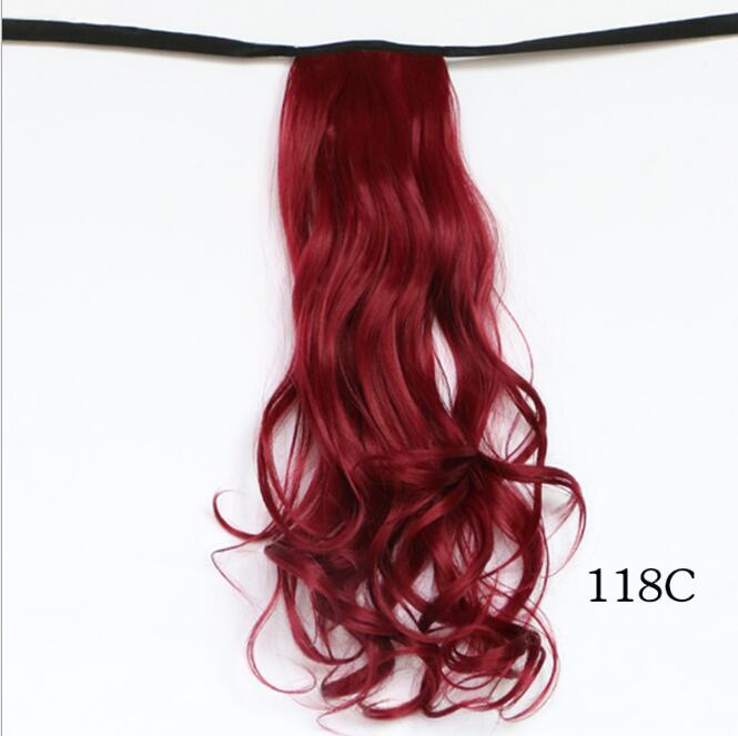 20 Burgundy Wine Red Long Wavy Ponytail Binding Tie Up Ponytail Hair