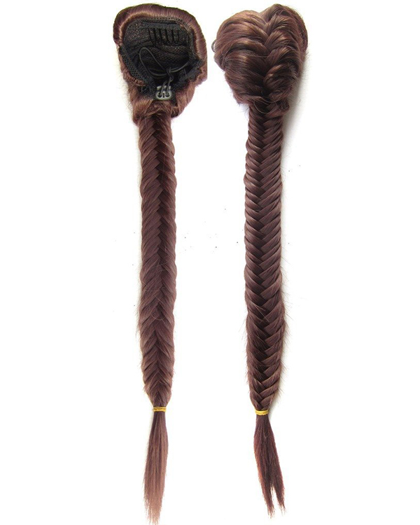"FESHFEN 20"" 50cm Fishtail Plait Ponytail Hair Extension #33 Synthetic Long Straight Braided Hair Clip in Ponytail"