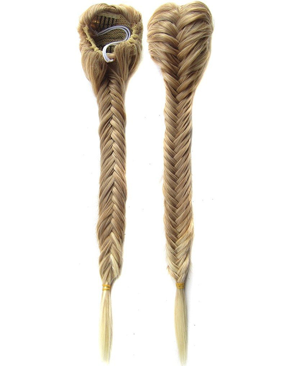 "FESHFEN 20"" 50cm Fishtail Plait Ponytail Hair Extension #27/613 Synthetic Long Straight Braided Hair Clip in Ponytail"