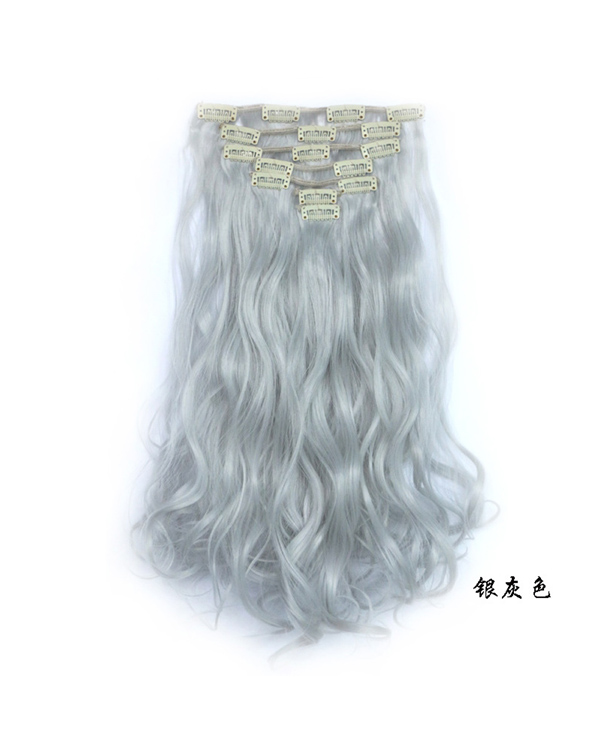 "7 pcs 20"" Grey Wavy Clip In Hair Extensions Synthetic Hair Extensions"