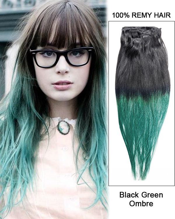 "18"" 7pcs Clip In Human Hair Extensions #T1B/Green Triple Ombre Straight Hair 100% Remy Hair Black Green Clip In Hair Extensions"