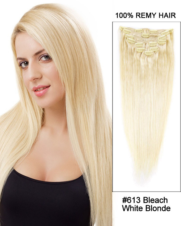 "20"" 9pcs #613 Bleach White Blonde Straight 100% Remy Hair Clip in Hair Extension"