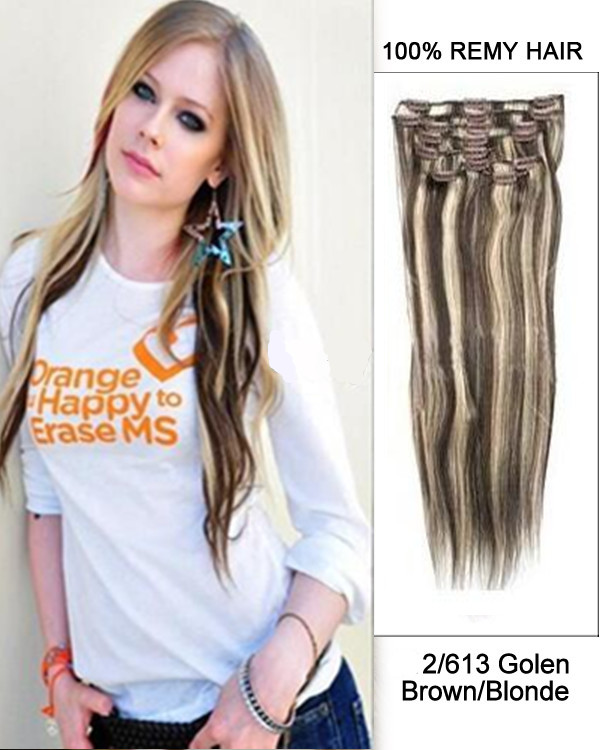 "18"" 9pcs #2/613 Dark Brown/ Light Blonde Highlight Straight Clip in Remy Human Hair Extensions"