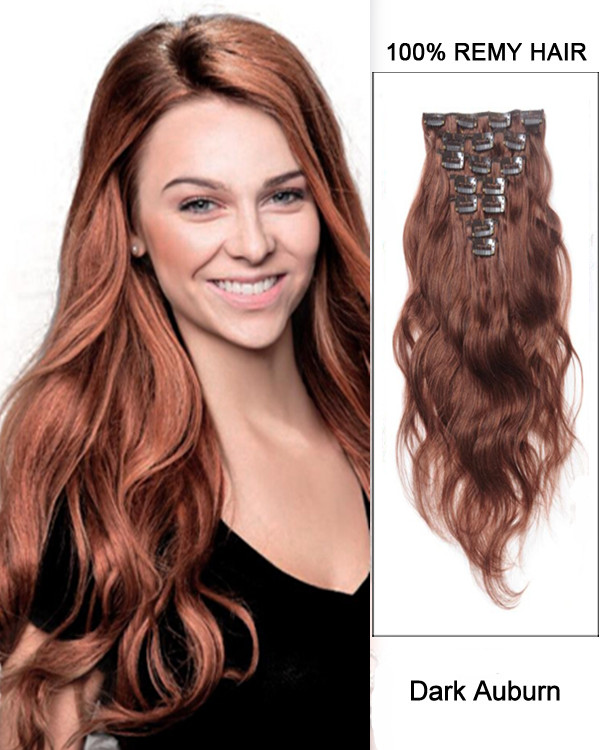 "26"" 11pcs Body Wave Clip in Remy Human Hair Extensions #350 Dark Auburn"
