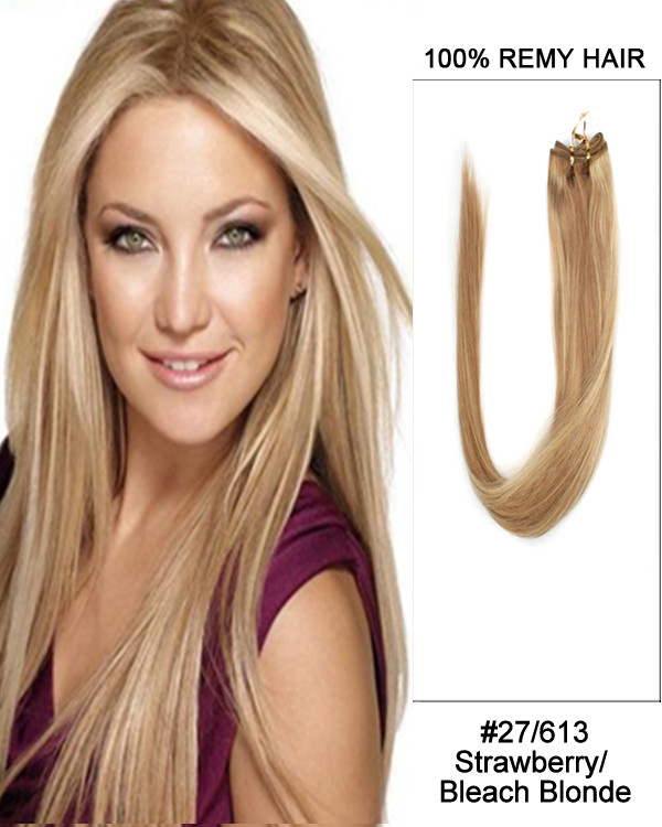 "24"" 11pcs #27/613 Strawberry Blonde Highlights Straight Clip in Remy Human Hair Extensions"