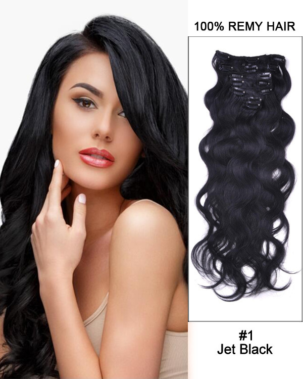 "14"" 7pcs #1 Jet Black Body Wave Remy Hair Clip In Hair Extensions"