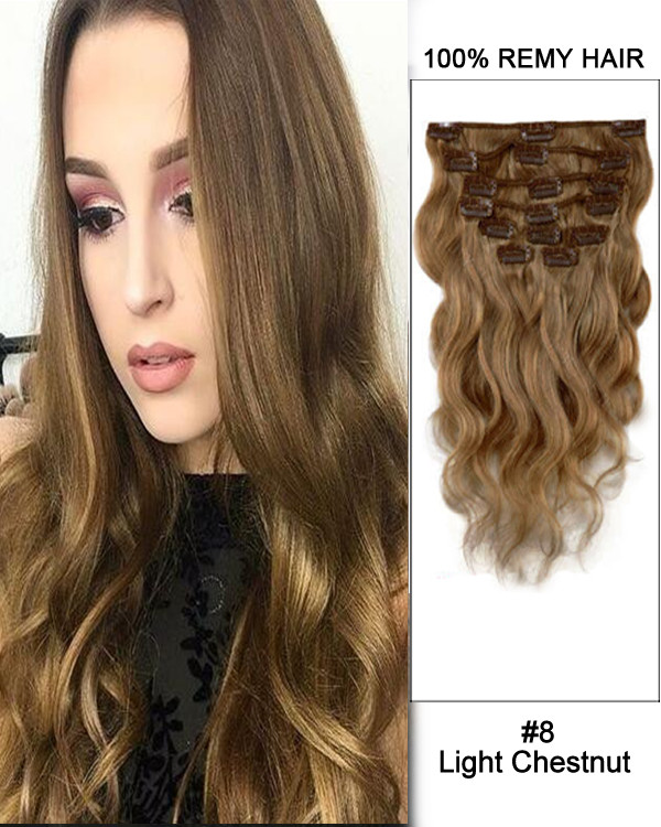 "16"" 7pcs #8 Light Chestnut Body Wave 100% Remy Hair Clip In Human Hair Extensions"