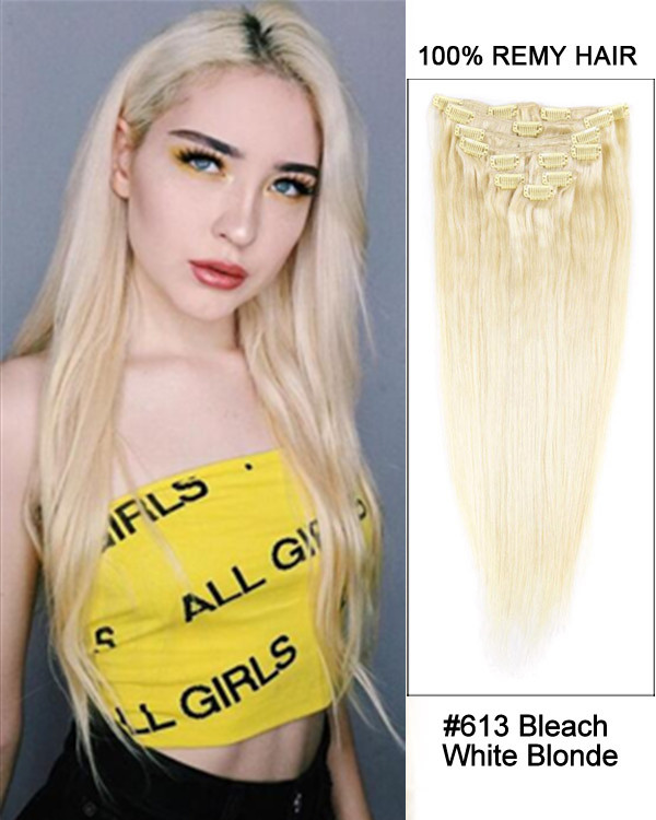 "16"" #613 Bleach White Blonde Straight 9pc 100% Remy Hair Clip in Hair Extension"
