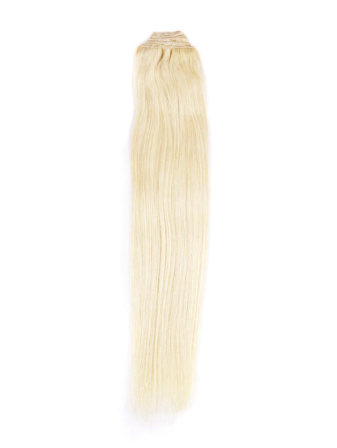"16"" #613 Bleach White Blonde Straight 9pc 100% Remy Hair Clip in Hair Extension - Click Image to Close"