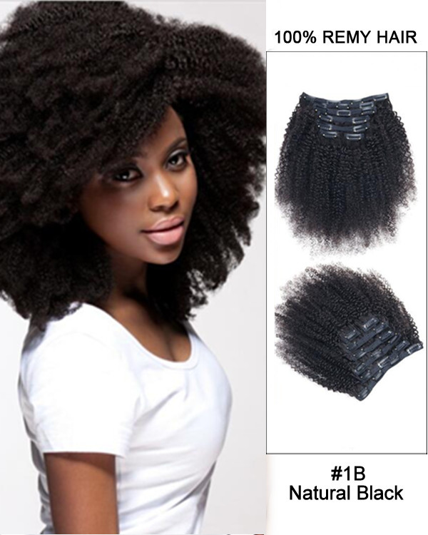 "FESHFEN 2018 New 14"" 7pcs Natural Black Afro Kinky 100% Remy Hair Clip in Hair Extensions"