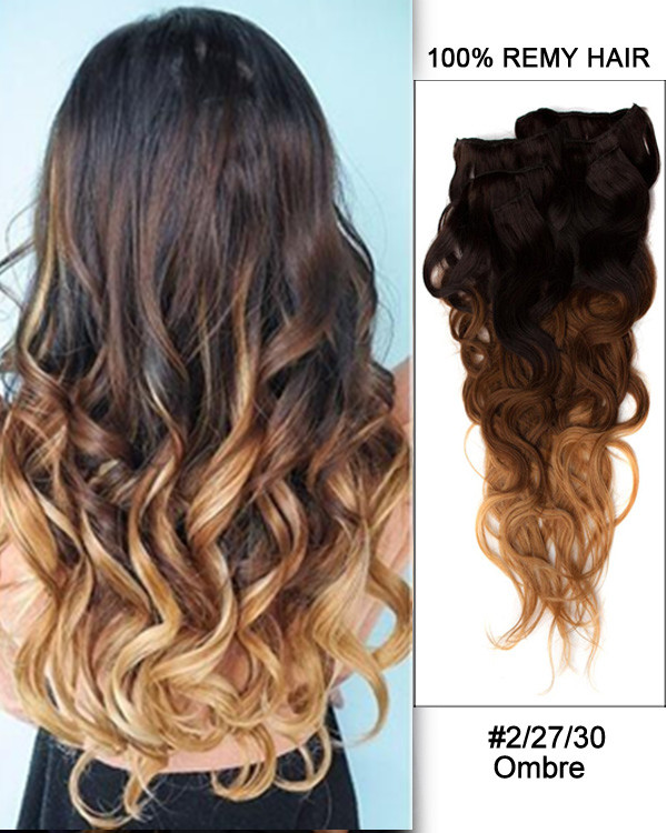 "16"" 7pcs #2/30/27 Black Auburn Blonde Ombre Body Wave 100% Remy Hair Clip In Hair Extensions"