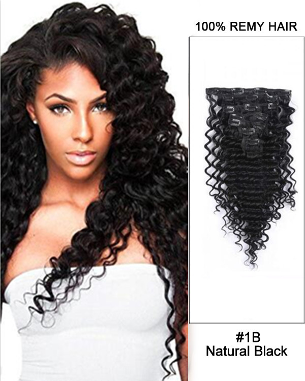 "FESHFEN 2018 New 14"" 7pcs Natural Black Deep Wave 100% Remy Hair Clip in Hair Extensions"