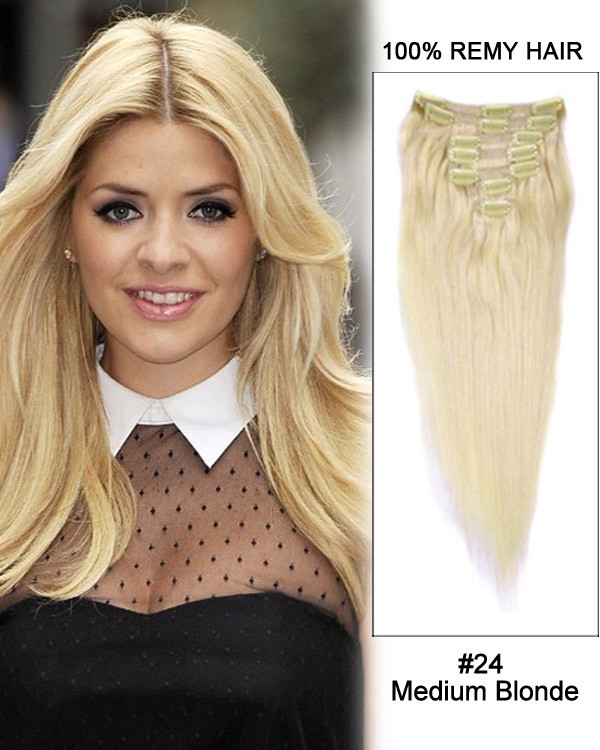 "24"" 9pcs #24 Medium Blonde Straight 100% Remy Hair Clip in Hair Extension"