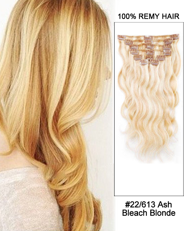 "14"" 7pcs #22/613 Ash/Bleach White Blonde Body Wave 100% Remy Hair Clip In Human Hair Extensions"