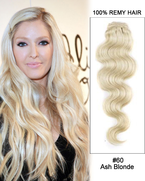 "16"" #60 Ash Blonde 7pcs Body Wave 100% Remy Hair Clip in Extensions"