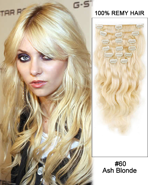 "16"" 9pcs #60 Ash Blonde Body Wave 100% Remy Hair Clip In Human Hair Extensions"