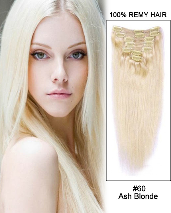"24"" 7pcs Straight Remy Hair Clip in Hair Extensions #60-Ash Blonde"