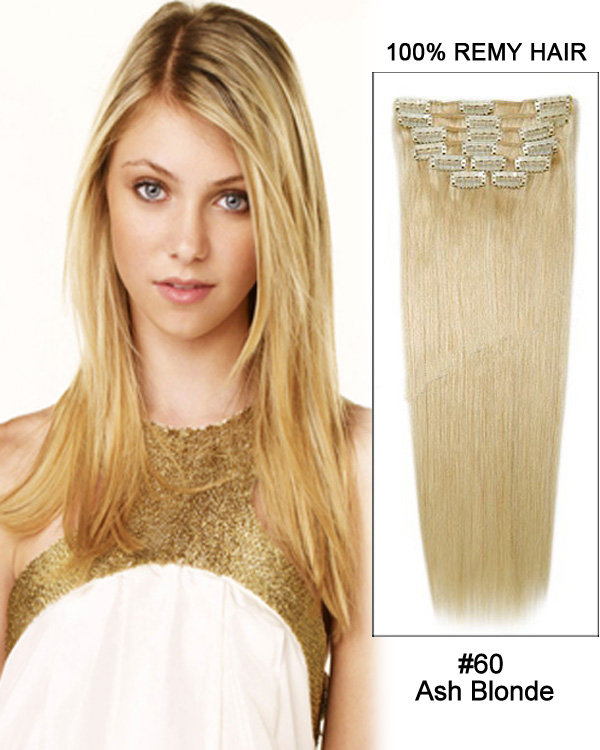 "28"" 11pcs Straight Clip in Remy Human Hair Extensions #60 Platinum Blonde"
