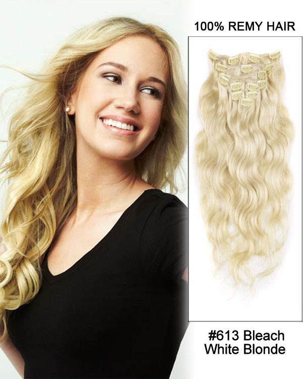 16 613 Bleach White Blonde 7pcs Body Wave Remy Hair Clip In Hair