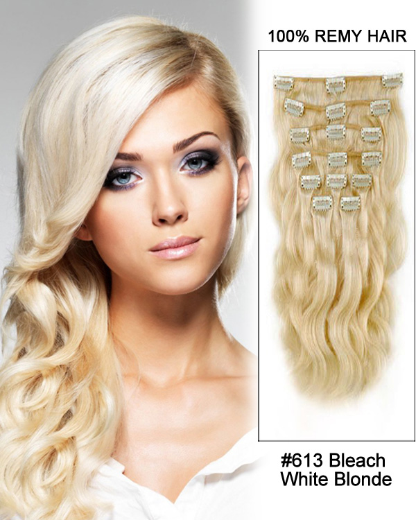 30 11pcs Body Wave Clip In Remy Human Hair Extensions 613 Bleach