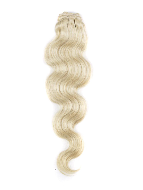 "18"" #613 Bleach White Blonde Body Wave Clip in Remy Human Hair Extensions 9 PCS"