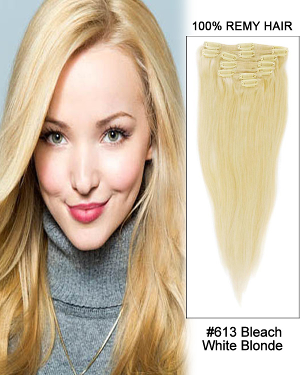 "26"" 7pcs Straight Clip in Remy Human Hair Extensions#613-Bleach White Blonde"